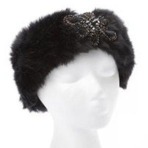 Faux Fur Jeweled Headband - Black